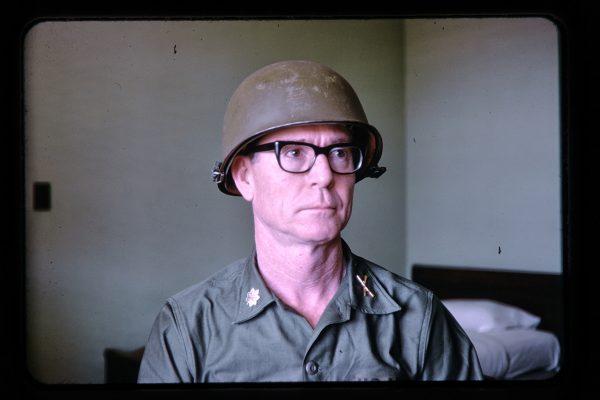 sitting soldier in helmet