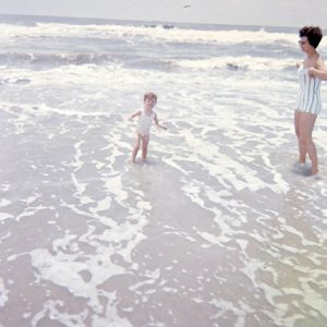 beach scene wading child