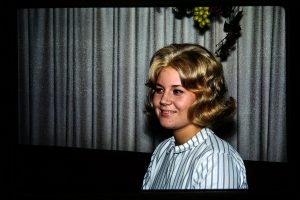 girl with a flip hairdo