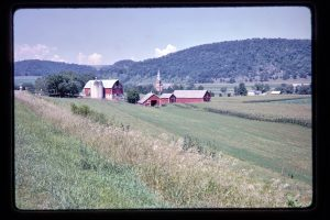 farmlands, barns, church