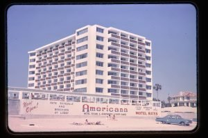 Americana hotel seen from beach