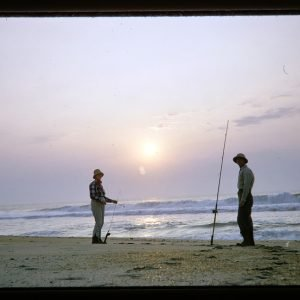 fishing on beach