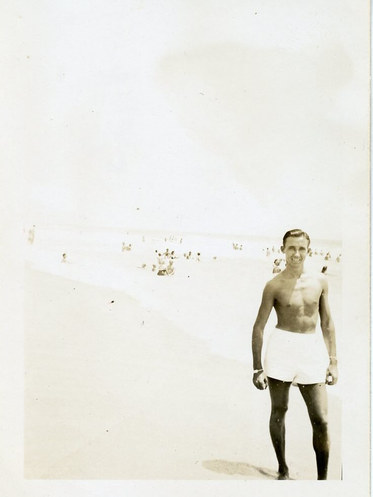 Young man at the beach, probably North Carolina, 1940's, unidentified