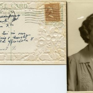 postcard and woman's portrait, c.1945