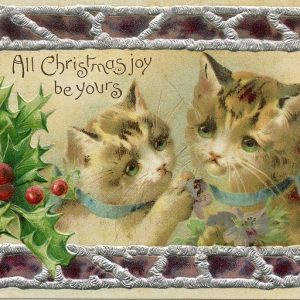 1900s Christmas postcard with kittens