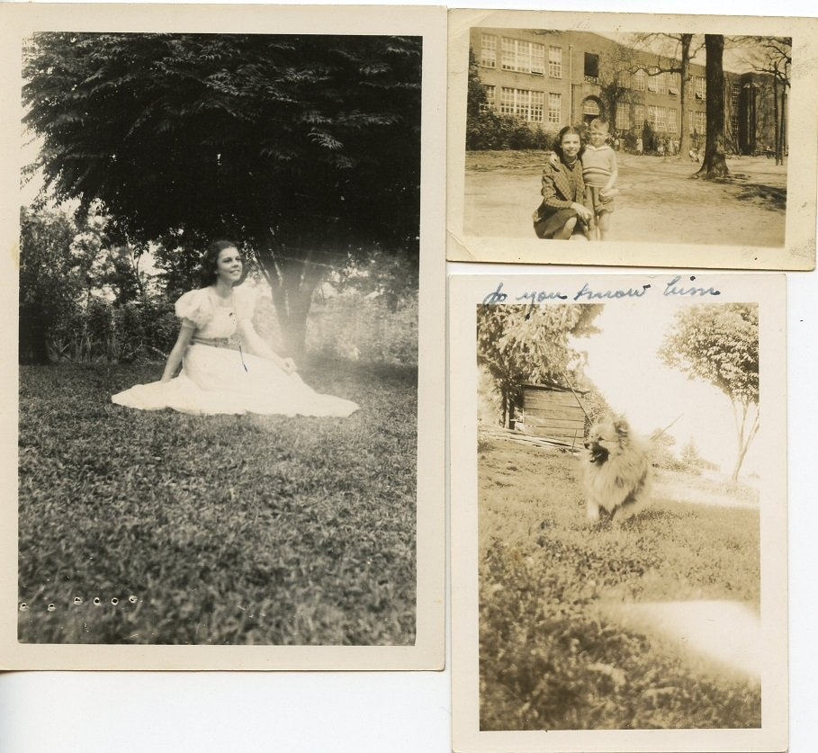 pictures of young girl, little boy, dog