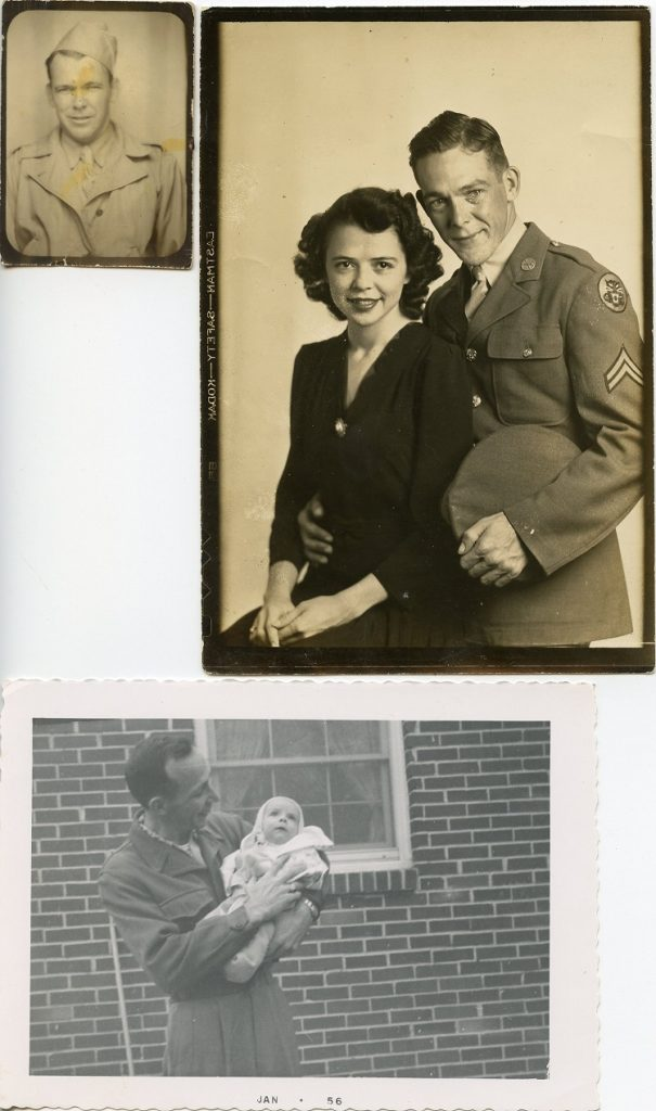 collage of pictures of a soldier and his family