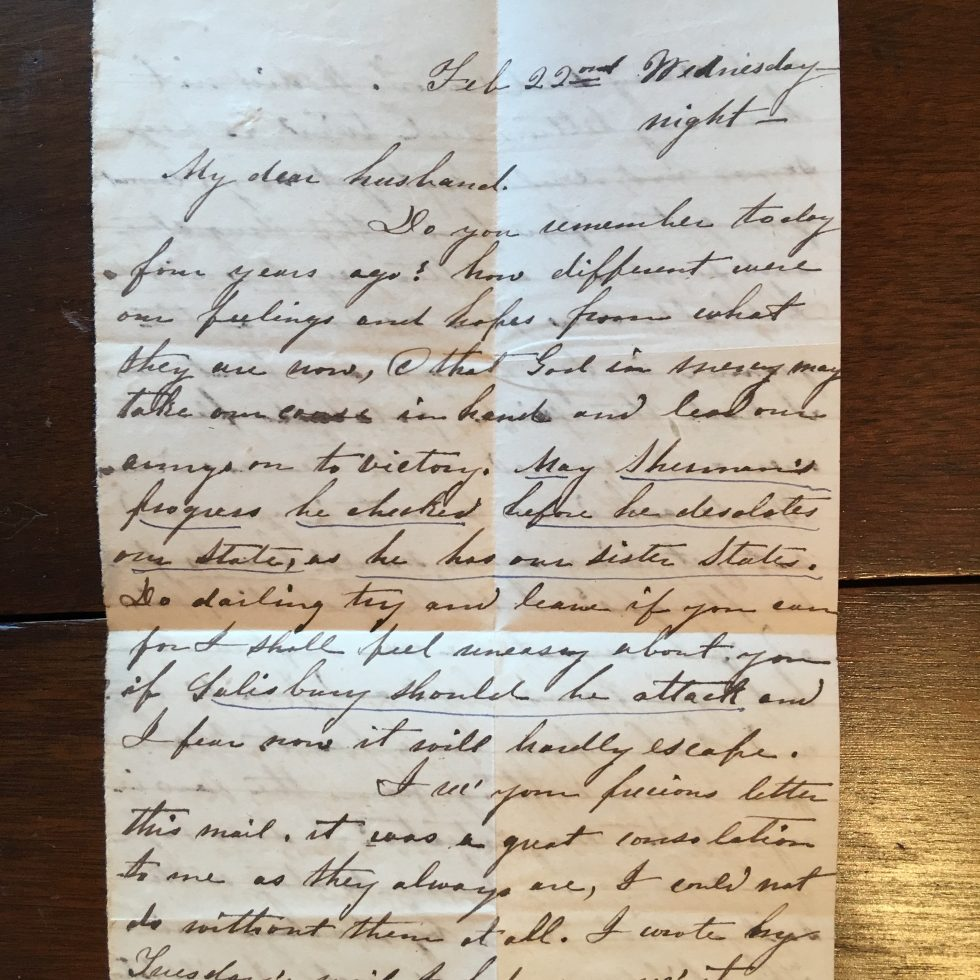 A letter my ancestor wrote to her husband before Sherman marched through North Carolina