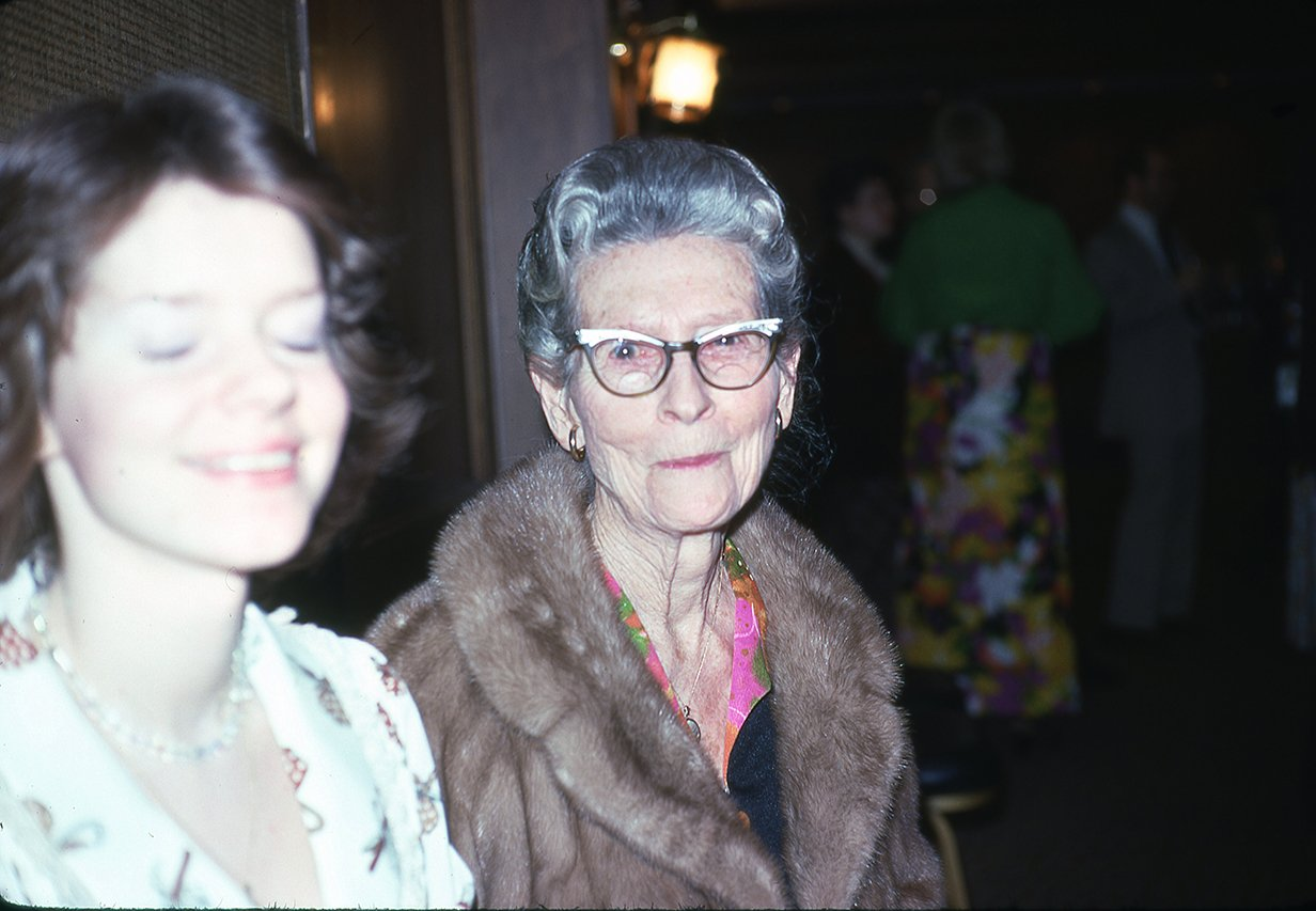 Alma Hinson in mink coat
