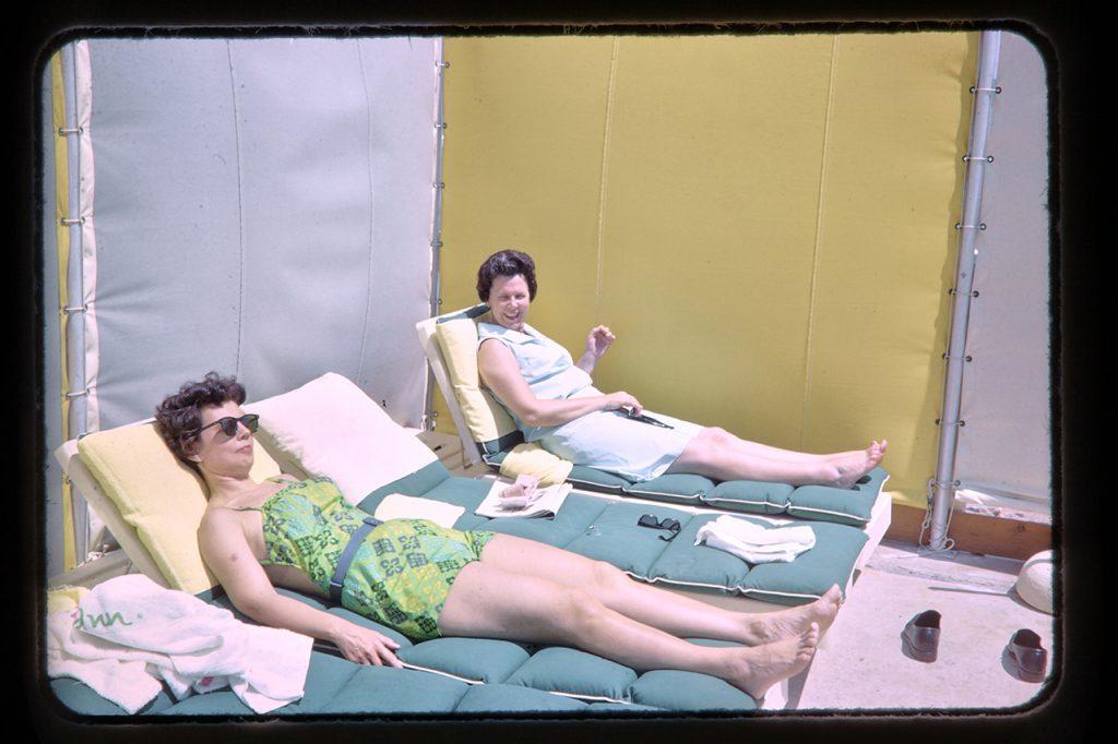 ladies sunbathing