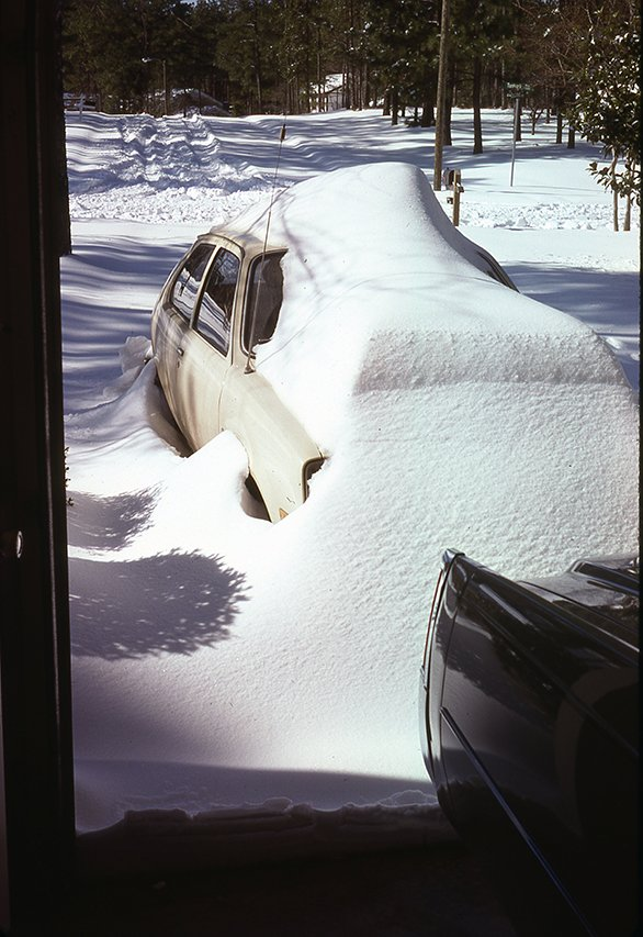 """20   2-19-79   Sam Turner's Chevette - 10 inch snow that fell 2-18-79"""